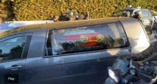 La llegada cortejo fúnebre de Maradona al cementerio de Bella Vista