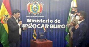 Álvaro Arnez, viceministro de Altas Tecnologías Energéticas, y Luis Alberto Poma, viceministro de Exploración y Explotación de Hidrocarburos