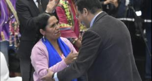 La ministra de Culturas, Sabina Orellana Cruz, fue posesionada esta tarde por el presidente Luis Arce Catacora. Foto: APG