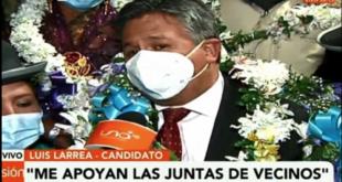 El presidente del Colegio Médico de La Paz, Luis Larrea, fue proclamado como candidato a la Alcaldía. Foto: Captura de video / Red Uno