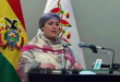 Prada dio el informe del primer mes del gobierno de Arce Catacora en la Casa Grande del Pueblo. Foto: Ministerio de la Presidencia.
