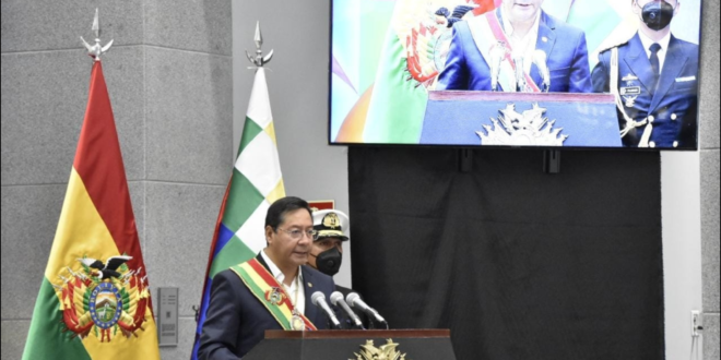 El presidente Luis Arce ofrece su discurso por el 22 de Enero, este viernes. / Foto: @Bolivia_bol