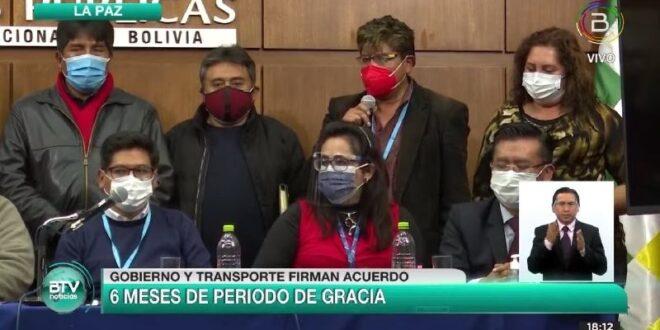 Gobierno llega a un acuerdo con sectores de los choferes de Bolivia. Foto: Captura de video / Bolivia TV