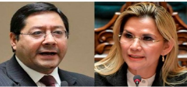 Luis Arce y Jeanine Áñez, . Foto Archivo ( Internet)