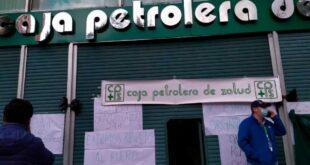 La huelga de los trabajadores de la CPS comenzó la mañana de este lunes, en El Prado. / Foto: Erbol