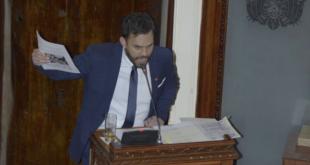 ministro de Gobierno, Eduardo del Castillo, durante su interpelación en la ALP. | APG