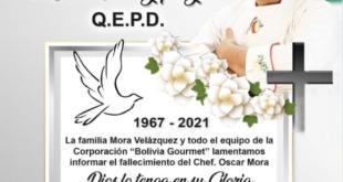 El chef Óscar Mora murió este miércoles, a los 54 años. / Foto: Corporación Bolivia Gourmet.