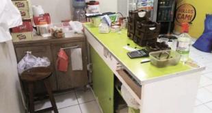 Antisociales robaron garrafas, una Tv y dinero de un restaurante en Santa Cruz. Foto:Clave 300.