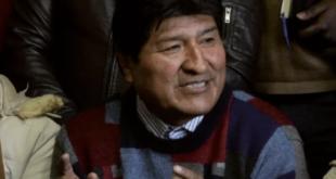 Evo Morales, en conferencia de prensa, la pasada jornada. Foto: APG.