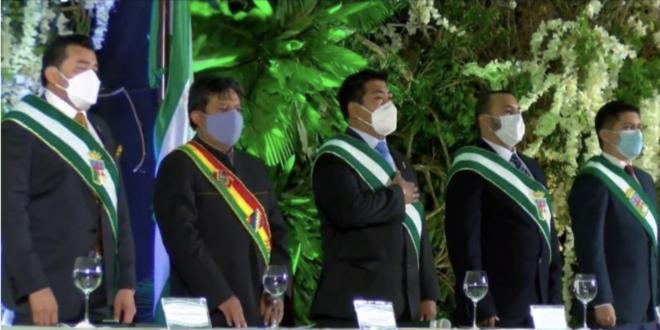 Choquehuanca en la sesión de honor del Concejo Municipal de Santa Cruz. / Foto: Archivo.
