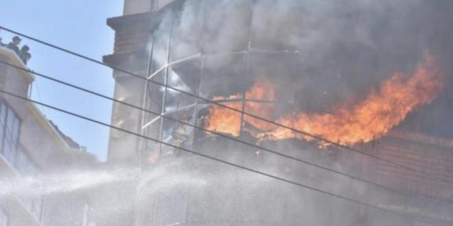 El incendio en una vivienda cerca de Adepcoca.   APG