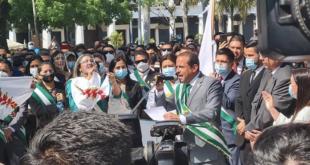 Luis Fernando Camacho en los actos del 24 de septiembre, en Santa Cruz.   El Deber