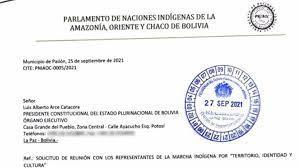 Carta enviada al presidente Luis Arce. | ANF