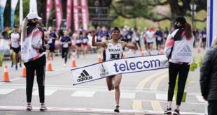 El fondista boliviano Héctor Garibay gana el Maratón de Buenos Aires, ayer. | @dnahuelok