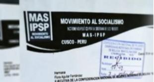 Documentos membretados del MAS en Cusco.